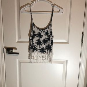 Black and White Palm Tree crop top